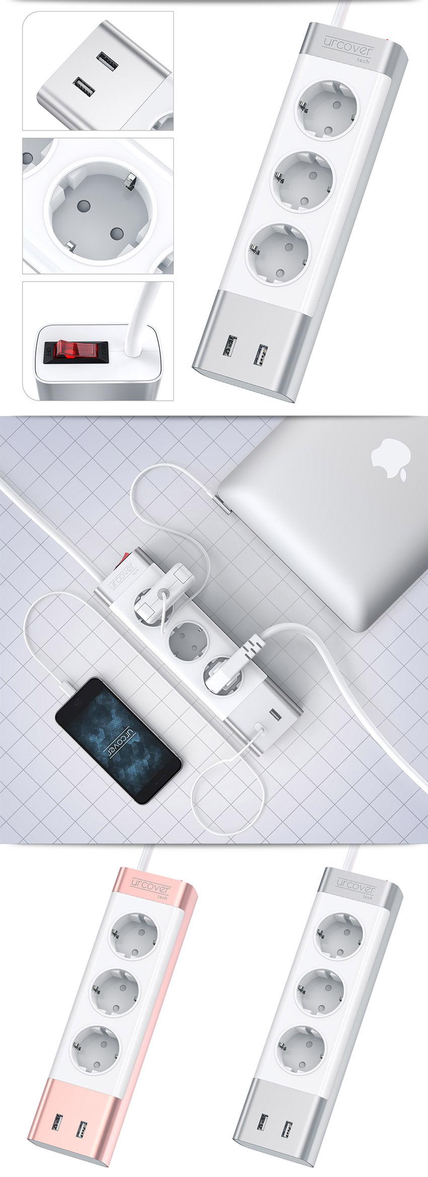 urcover tech steckdosenleiste mit usb anschl ssen steckerleiste mehrfachstecker ebay. Black Bedroom Furniture Sets. Home Design Ideas
