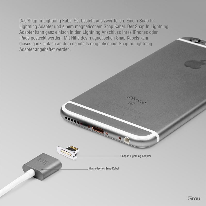 urcover tech magnetisches iphone usb ladekabel lightning. Black Bedroom Furniture Sets. Home Design Ideas