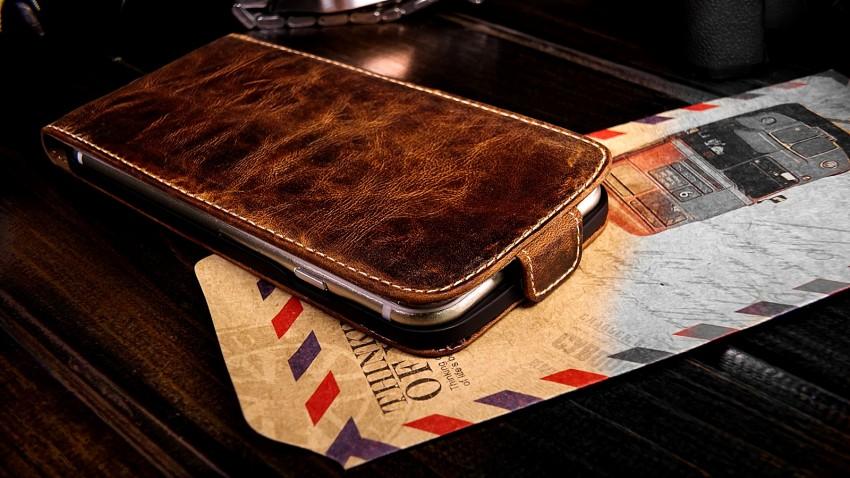 original akira echt leder apple iphone 6 4 7 flip cover h lle flip oil braun ebay. Black Bedroom Furniture Sets. Home Design Ideas
